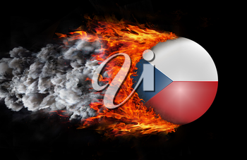 Concept of speed - Flag with a trail of fire and smoke - Czech Republic