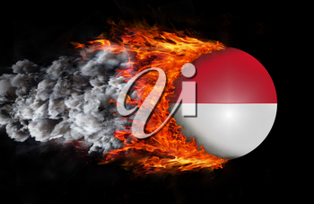 Concept of speed - Flag with a trail of fire and smoke - Indonesia