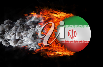 Concept of speed - Flag with a trail of fire and smoke - Iran
