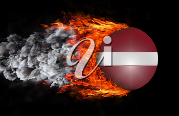 Concept of speed - Flag with a trail of fire and smoke - Latvia