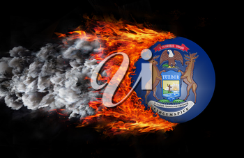 Concept of speed - Flag with a trail of fire and smoke - Michigan