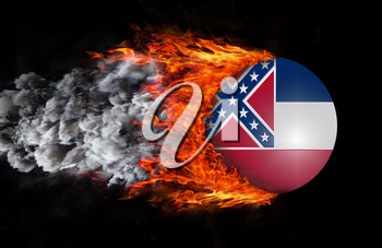 Concept of speed - Flag with a trail of fire and smoke - Mississippi