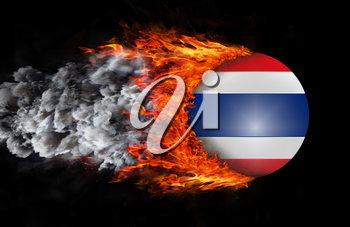 Concept of speed - Flag with a trail of fire and smoke - Thailand