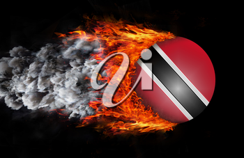 Concept of speed - Flag with a trail of fire and smoke - Trinidad and Tobago