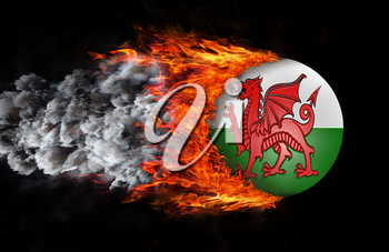 Concept of speed - Flag with a trail of fire and smoke - Wales