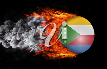Concept of speed - Flag with a trail of fire and smoke - Comoros