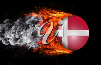 Concept of speed - Flag with a trail of fire and smoke - Denmark
