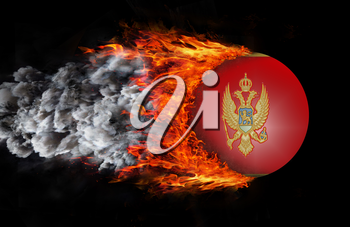 Concept of speed - Flag with a trail of fire and smoke - Montenegro
