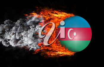 Concept of speed - Flag with a trail of fire and smoke - Azerbaijan