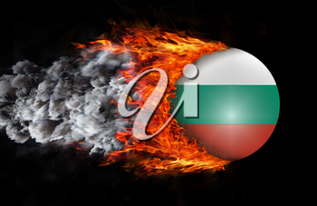 Concept of speed - Flag with a trail of fire and smoke - Bulgaria