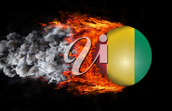 Concept of speed - Flag with a trail of fire and smoke - Guinea