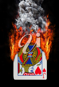 Playing card with fire and smoke, isolated on white - Jack of hearts