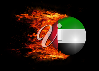 Concept of speed - Flag with a trail of fire - UAE