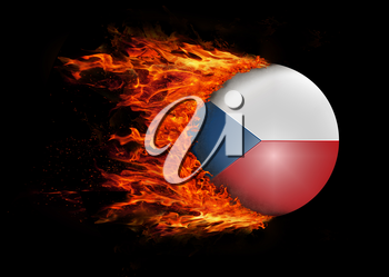 Concept of speed - Flag with a trail of fire - Czech Republic