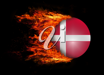 Concept of speed - Flag with a trail of fire - Denmark