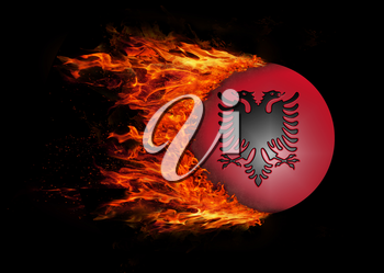 Concept of speed - Flag with a trail of fire - Albania
