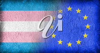 Trans Pride and the EU, flags painted on cracked concrete
