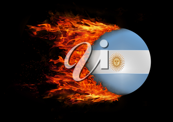 Concept of speed - Flag with a trail of fire - Argentina