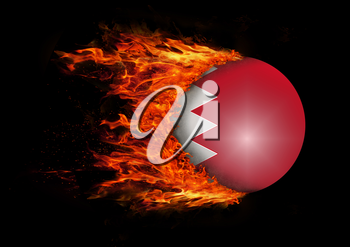 Concept of speed - Flag with a trail of fire - Bahrain