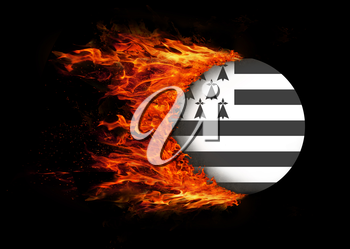 Concept of speed - Flag with a trail of fire - Brittany