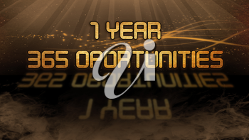 Gold quote with mystic background - 1 year, 365 opportunities