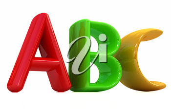 colorful abc on white background