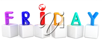 Colorful 3d letters Friday on white cubes on a white background