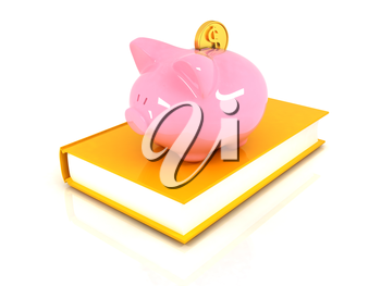 Piggy Bank with a gold dollar coin on book on a white background