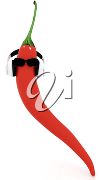 chili pepper with sun glass and headphones front face on a white background