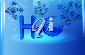 Global water background with molecule