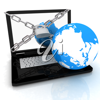 Laptop with lock, chain and earth on a white background