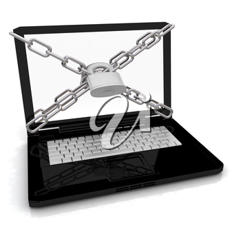 Laptop with lock and chain on a white background