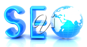 3d illustration of text 'SEO' with earth globe on a white background