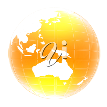 Yellow 3d globe icon with highlights on a white background