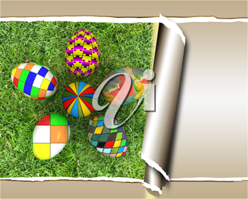 background of flower of easter eggs on the grass, with torn paper