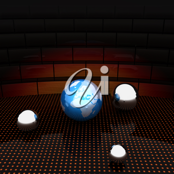 Earth and ball on light path to infinity. 3d render