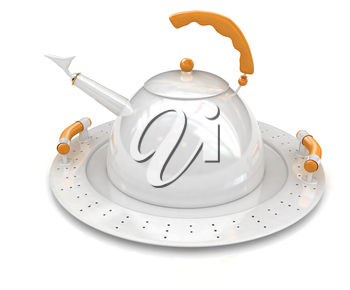 Teapot on a platter on a white background