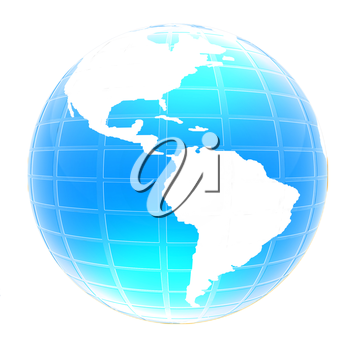 3d globe icon with highlights on a white background