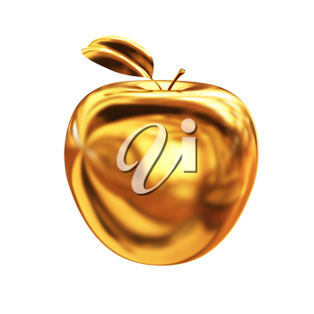 Gold apple isolated on white background