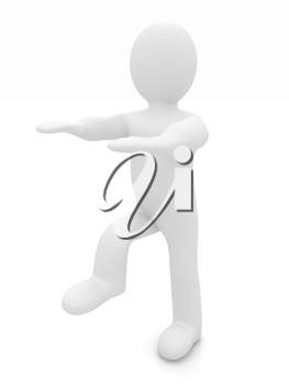 3d personage on white background. Starting series: stretching before exercise