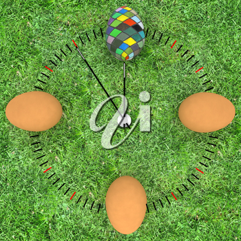 Easter time. The concept of start Easter. 3d render