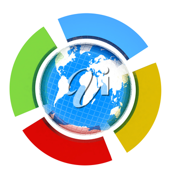 Earth and four semi-circle. The concept of four-time season ( winter-blue,spring-green,  summer-red,yellow-autumn). 3d button
