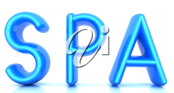 Spa 3d text on a white background