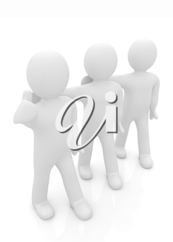 3d man with thumb up and 3d mans stand arms around each other on a white background
