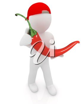 3d man with chili pepper on a white background