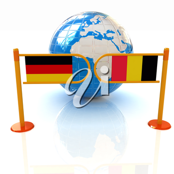 Three-dimensional image of the turnstile and flags of Germany and Belgium on a white background