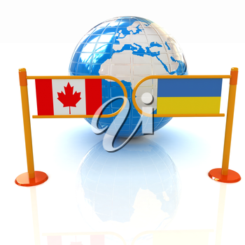 Three-dimensional image of the turnstile and flags of Canada and Ukraine on a white background