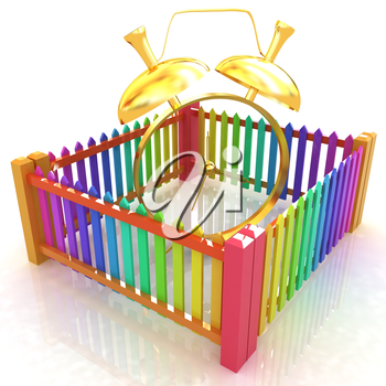 Time protection concept. Gold alarm clock clock closed colorfull fence on a white background