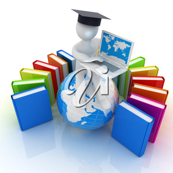 3d man in graduation hat sitting on earth and working at his laptop and books around his on a white background