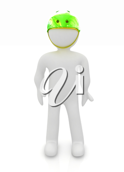 3d man in bicycle helmet on a white background